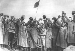 Рис. 37. Февральская революция. 1917. Манифестация на фронте.