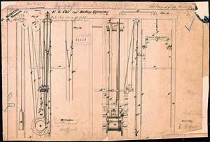 Рис.38 . Чертеж гидравлического лифта Уильяма Томпсона.